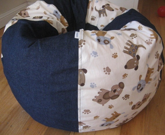 Puppies and Paw Print Bean Bag Chair COVER ONLY
