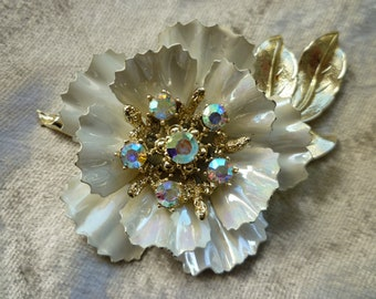 Coro Signed Irridescent Enamel Brooch Mad Men Style