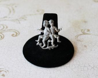 Vintage 70's Gemini Zodiac Ring - Adjustable