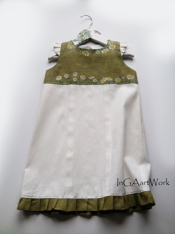 "White with light green color linen  - size by height 41""/104 cm for  3-4 years - children party dress - Hand painted"