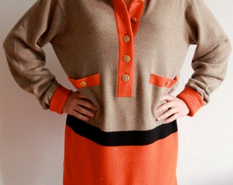 SALE~ take 20% OFF ~ CHANEL 6 Ply Cashmere Sweater  Orange Beige and Black size 3