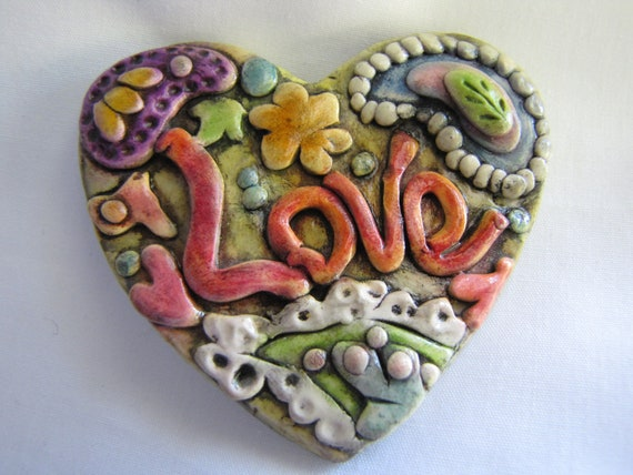 Love magnet antiqued paisley design decorative polymer clay