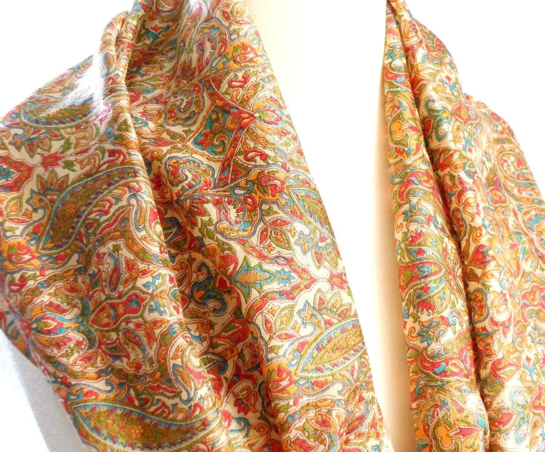 small floral silk scarf paisley scarf silk sari scarf brown