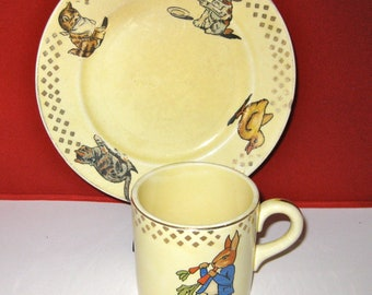 Child's Mug and Plate Set, Knowles China