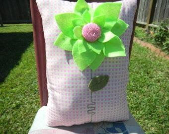 """12""""x17"""" - Stuffed Pillow - Felt flower with beaded center"""