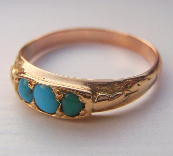Antique Victorian Turquoise Ring Solid Gold Lovely Right