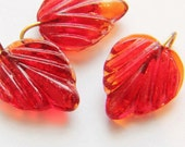 14 Small Red Pressed Glass Leaves-Vintage,Supplies
