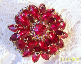 Vintage Julianna Brooch-Large, Gorgeous Red Crystals forming a Lovely Round Floral Shape with Gold Tone Metal