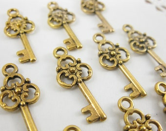 Bulk Listing! 50 pcs Antiqued Gold Small Vintage Style Key Charm Tibetan Silver 23mm x 10mm CM019-AG