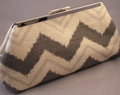 Navajo Grey Chevron Clutch
