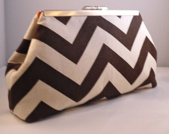 Chocolate Brown Chevron Clutch