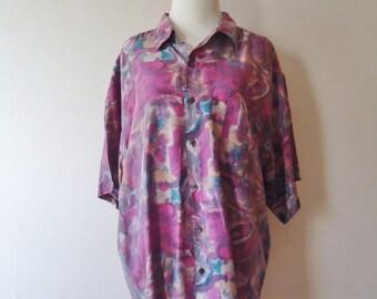 men's retro abstract patterned buttoned short sleeve 80's silk shirt - medium