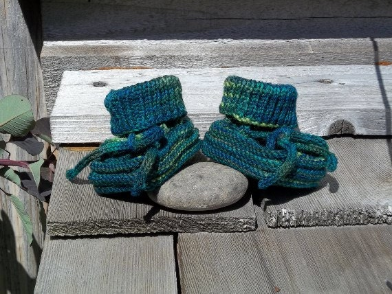 Greenies - newborn size baby booties hand knit in washable wool