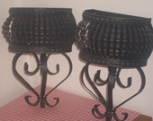 set of two black crimped metal wall pockets