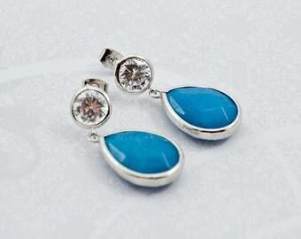 Sea Blue Jade Silver Cubic Zirconia Dangles, Rhodium Silver Jade, CZ Round Earrings, Post Earrings, Dangle Earrings, Inv166