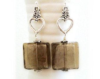 Lampwork Earrings - Black Earrings - Dark Glass with Silver Inside - Square earrings - Hearts Earrings in Silver