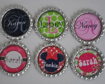 5 Personalized finished bottlecaps, For hairbows, jewelry, magnets, scrapbooks-SET of 5-- Minnie Mouse, giraffe print