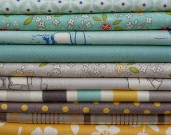 October Afternoon and Riley Blake Seaside Collection One 9 Piece Fat Quarter Yard Bundle