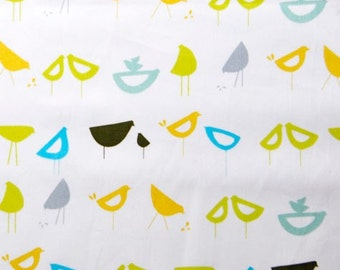 Monaluna Organic Fabrics Havana Collection One Yard of Little Birds in Blue
