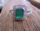 Vintage Natural  Emerald Diamond Ring