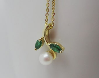 Emerald and Pearl Green Leaf Pendant in 14K Gold