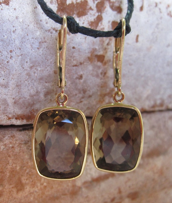 14k Rectangular Cushion Cut Smoky Topaz Dangle Earrings