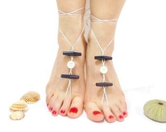 Barefoot Sandals, Barefoot sandles, Cute sandals, Button Barefoot Sandles, Black, Black Button, barefoot sandal, Satin rope, lolita, Minimal