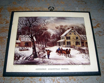 Vintage Picture, Currier & Ives, Plaque, American Homestead,  Winter, Wall Plaque, Wall Decor