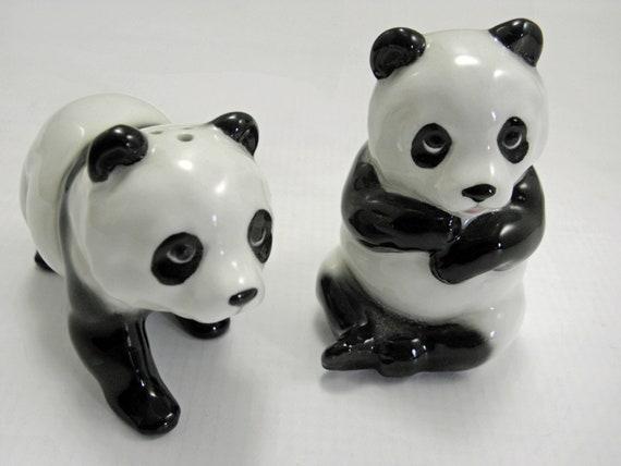Vintage Salt and Pepper Shakers Panda Bears Made in Japan