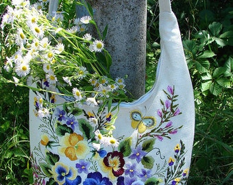 "Embroidered linen bag with with floral hand embroidery  ""Wild flowers"""