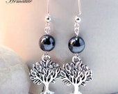 Tree of Life With Hematite, Rose Quartz or Deep Green Jade Ear Dangles