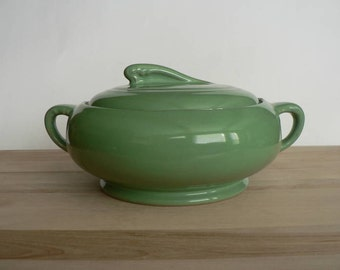 Vintage 1930's Art Deco Style Coorsite Celadon Green Covered Casserole Dish by Coors Pottery