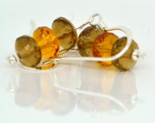 YellowTopaz Earrings Brown and Orange Czech Glass Earrings, Free Shipping
