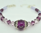 FREE SHIPPING Purple Bracelet, Lampwork Glass, Amethyst Swarovski Crystal, Beaded Bracelet