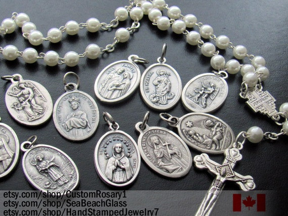 Saint medal charms patron saint medals catholic saints for Bulk jewelry chain canada