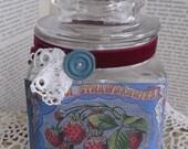 Sweet Vintage Strawberry Bleu' Labeled Glass Jar, Handmade, Recycled Jar, Glittered,Vintage Velvet, Antique laces, Vintage Button,
