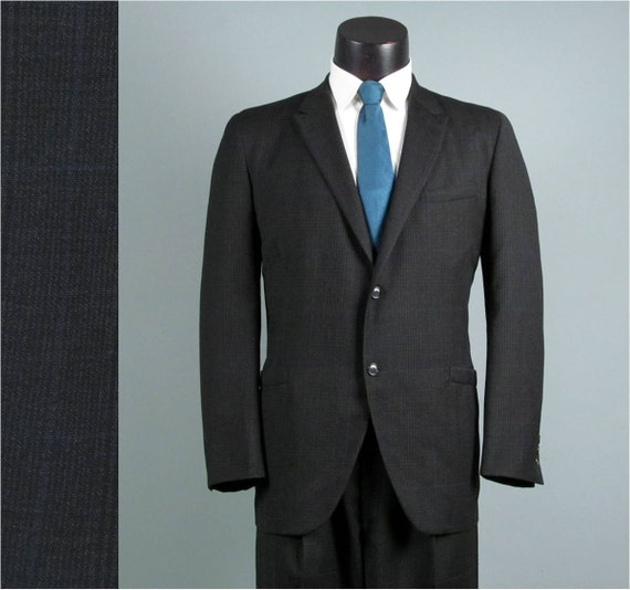 Vintage Mens Suit 1950s 1960s Rockabilly Charcoal Plaid Wool