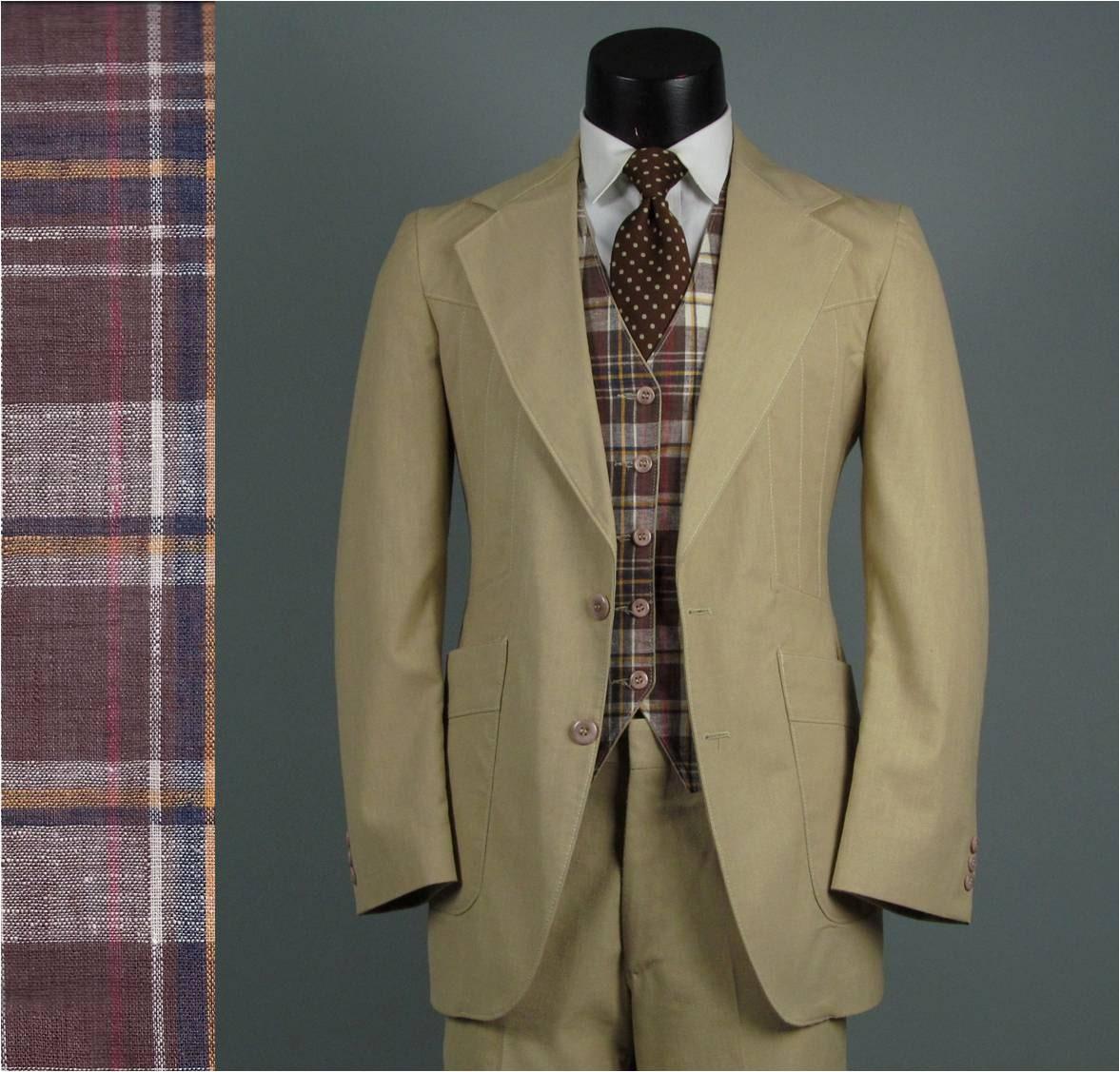 Vintage Mens Suit 1970s REVERSIBLE PLAID VEST Tan 3 Three
