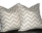 """24"""" Decorative Pillows Khaki and Natural Chevron- 24 x 24 inch square - TWO PILLOW COVERS"""