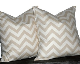 "24"" Decorative Pillows Khaki and Natural Chevron- 24 x 24 inch square - TWO PILLOW COVERS"