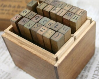 Alphabet Stamps Set - Wooden Rubber Stamps - Lowercase Stamps - 28pcs