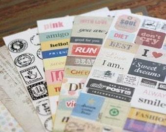 Paper Sticker Set - Vintage Stamp Stickers - Deco Sticker Set - Diary Sticker - 6 sheets