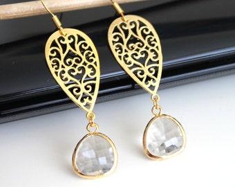 Long oriental gold earrings, clear crystal glass earrings, bridesmaids gift, wedding jewelry