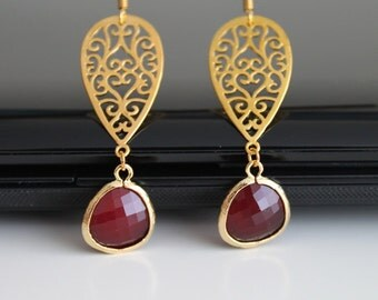 Long oriental gold earrings, ruby crystal glass earrings, bridesmaids gift, wedding jewelry