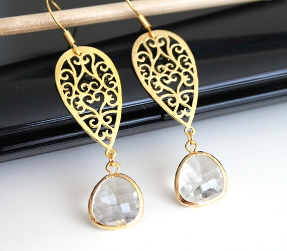 Long oriental gold earrings, clear crystal glass earrings, bridesmaids gift, wedding jewelry