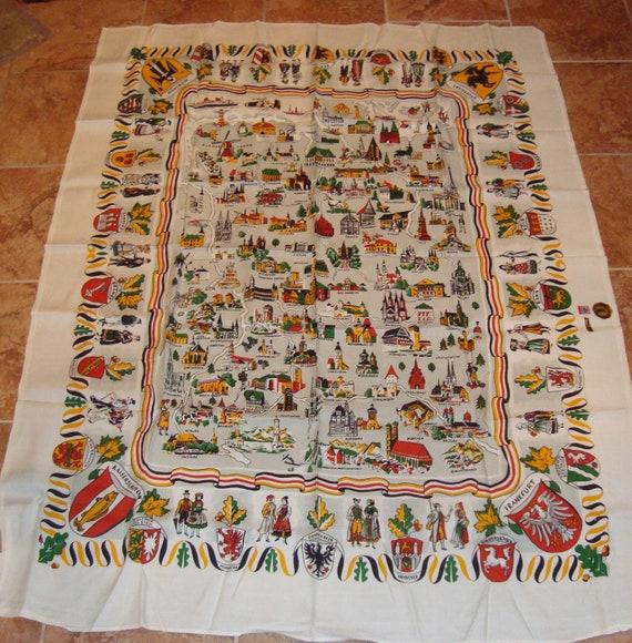 OKTOBERFEST SALE - Fine Linen Tablecloth German Cities