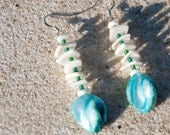 Shell Earrings With Blue Glass