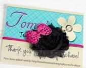 Shabby Flower Headband, Hot Pink, Black, Sequins, Skinny Elastic -SHIPS FREE!