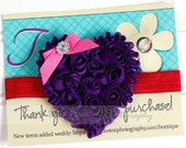 Shabby Heart Headband, Valentine's Day, Purple, Pink, Red Satin Elastic -SHIPS FREE!