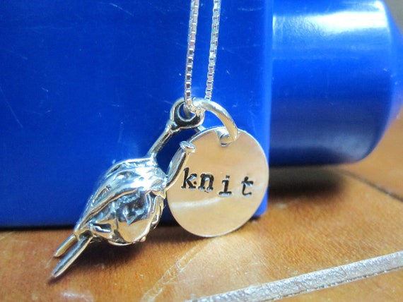 Knitting Needle Gauge Necklace : Knitting needle necklace with sterling silver by